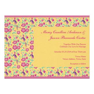 Sakura Batik Pattern yellow Large Wedding Invite