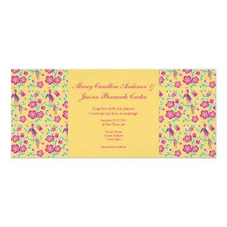 "Sakura Batik Pattern yellow Long Wedding Invite 4"" X 9.25"" Invitation Card"