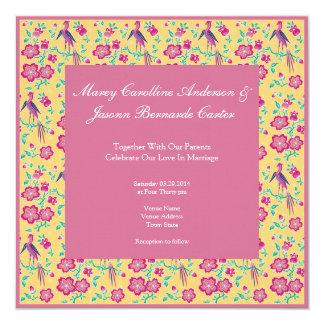 "Sakura Batik Stripes pink Wedding Invitation 5.25"" Square Invitation Card"