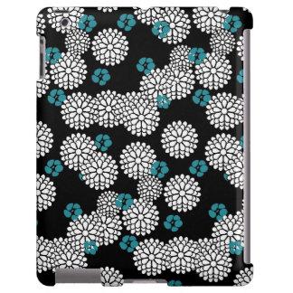 Sakura black blue flowers floral pattern