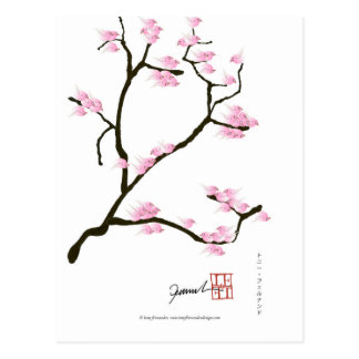 sakura blossom with pink birds, tony fernandes postcard