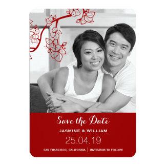 Sakura Blossoms Asian Wedding Photo Save The Date 13 Cm X 18 Cm Invitation Card