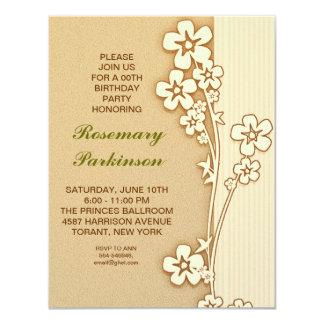 "sakura blossoms birthday invitation 4.25"" x 5.5"" invitation card"