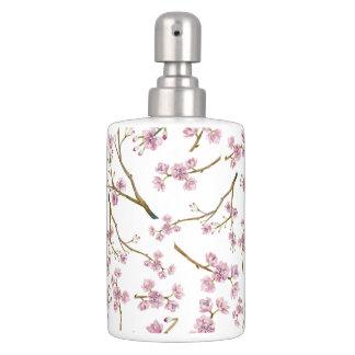 Sakura Cherry Blossom Print Soap Dispenser And Toothbrush Holder