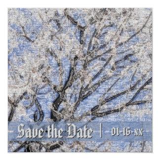 """Sakura Cherry Blossoms Formal Save the Date Invite 5.25"""" Square Invitation Card"""
