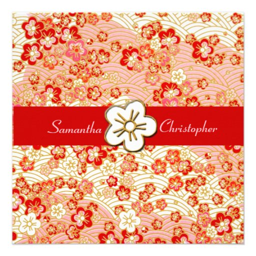 Sakura Chirimen wedding invitations