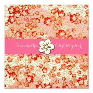 "Sakura Chirimen wedding invitations 5.25"" Square Invitation Card"