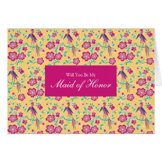 Sakura Floral Batik Be My Maid of Honor Invitation