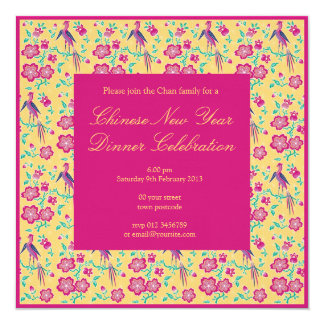 Sakura Floral Batik Chinese New Year Invitation