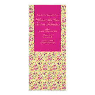 "Sakura Floral Batik Chinese New Year Invitation 3 4"" X 9.25"" Invitation Card"