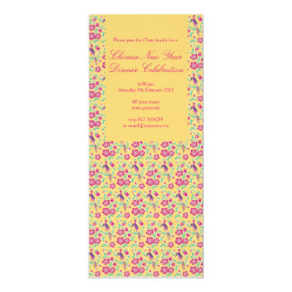 "Sakura Floral Batik Chinese New Year Invitation 4 4"" X 9.25"" Invitation Card"