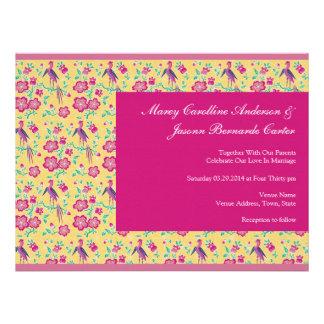 Sakura Floral Batik pink Large Wedding Invite