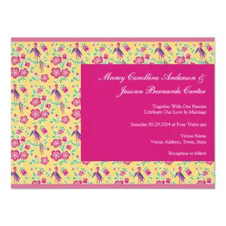 "Sakura Floral Batik pink Large Wedding Invite 6.5"" X 8.75"" Invitation Card"