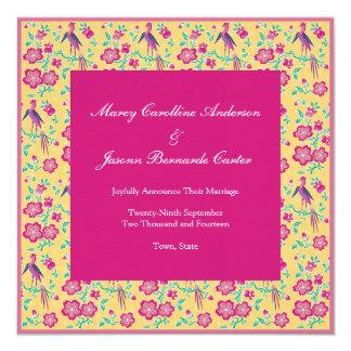 "Sakura Floral Batik pink Wedding Announcement 5.25"" Square Invitation Card"