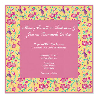 "Sakura Floral Batik pink Wedding Invitation 5.25"" Square Invitation Card"