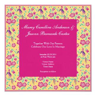"Sakura Floral Batik pink Wedding Invitation 2 5.25"" Square Invitation Card"