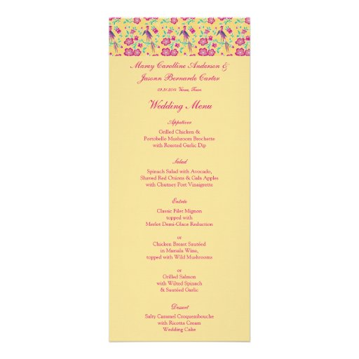 Sakura Floral Batik Wedding Menu 2 Announcement