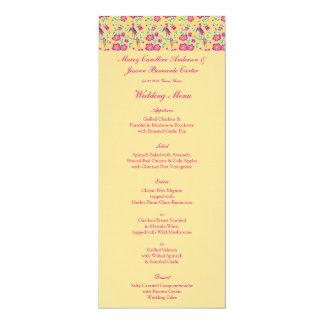 Sakura Floral Batik Wedding Menu 2 4x9.25 Paper Invitation Card