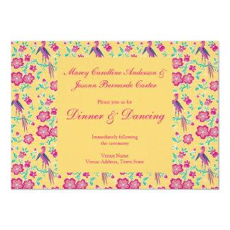 "Sakura Floral Batik Wedding Reception Invite 2 5"" X 7"" Invitation Card"