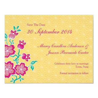 "Sakura Floral Batik Wedding Save The Date Card 4.25"" X 5.5"" Invitation Card"