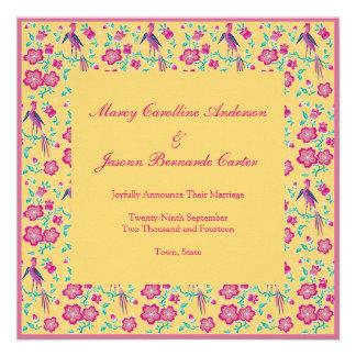 Sakura Floral Batik yellow Wedding Announcement