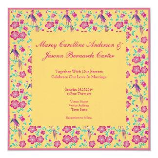 "Sakura Floral Batik yellow Wedding Invitation 2 5.25"" Square Invitation Card"