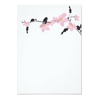 "Sakura flowers and birds Invitation 5"" X 7"" Invitation Card"