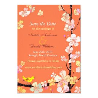 "Sakura Flowers + Bird Orange Save the Date Invites 5"" X 7"" Invitation Card"