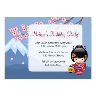 Sakura Kokeshi Doll Cute Geisha Birthday Party Card