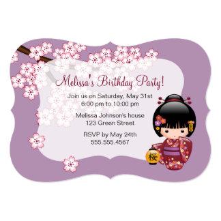 Sakura Kokeshi Doll Geisha Birthday Party Photo Card