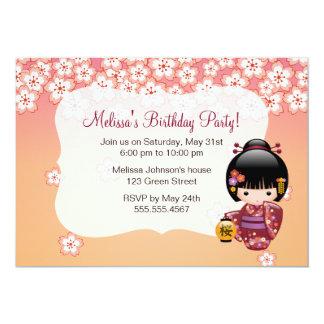Sakura Kokeshi Doll - Geisha Girl on Peach 13 Cm X 18 Cm Invitation Card