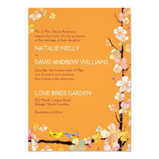 Sakura + Romantic Love Birds Tangerine Wedding 13 Cm X 18 Cm Invitation Card
