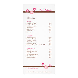 Sakura Spa Menu Template - Double Sided Rack Cards