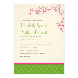 Sakura Wedding Invitation in Pink and Green