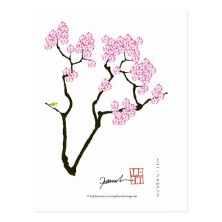 sakura with green bird, tony fernandes postcard