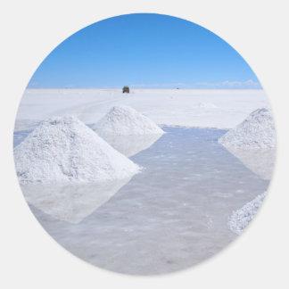 Salar de Uyuni salt flats round sticker