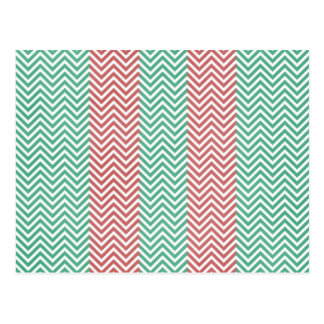 Salmon and Green Chevron Striped Zig Zags Postcard