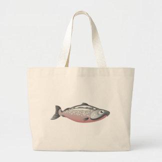 Salmon fishing tote bag