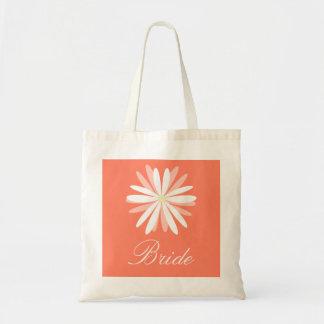 Salmon Orange Background with White Daisy Bride Tote Bag