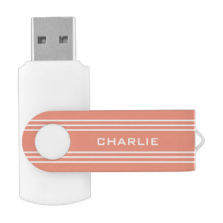 Salmon Stripes custom monogram USB drives