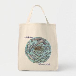Salmon, the circle of life tote bag