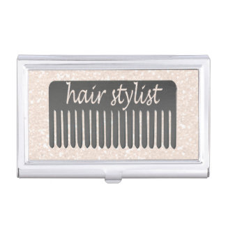 Salon Comb Handwriting Typography Hair Stylist Business Card Cases