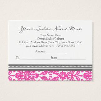 Salon Gift Certificate Fuchsia Grey Damask