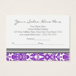 Salon Gift Certificate Purple Grey Damask