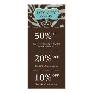 Salon Marketing Cards Blue Brown Zebra Full Colour Rack Card