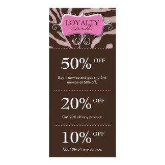 Salon Marketing Cards Pink Brown Zebra Customized Rack Card