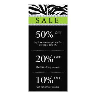 Salon Marketing Cards Zebra Green Black Diamond Customized Rack Card