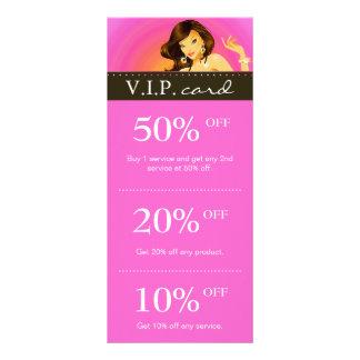 Salon Marketing Cards Zebra Pink Tanning Brunette Full Color Rack Card