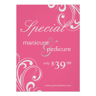 Salon Poster Spa Pink & White Swirls 2