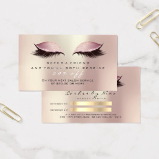 Salon Referral Card Glitter Rose Gold Pink Lashes